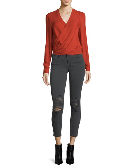 Margot High-Rise Skinny-Leg Ankle Jeans with Holes