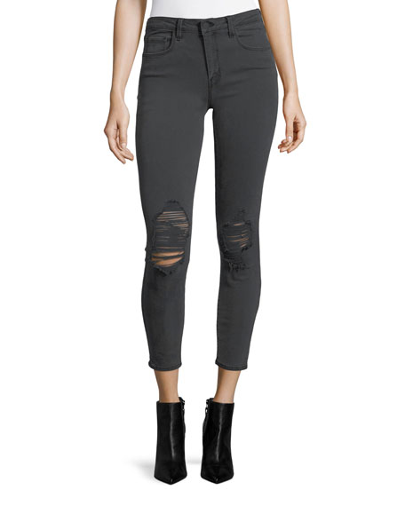 L'Agence Margot High-Rise Skinny-Leg Ankle Jeans with Holes