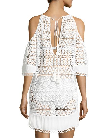 Silas Cold-Shoulder Lace Coverup Dress