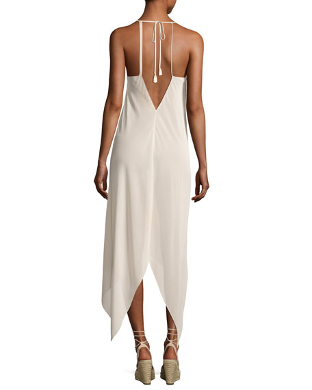Kym Plunging Asymmetric-Hem Coverup Dress with Tassels