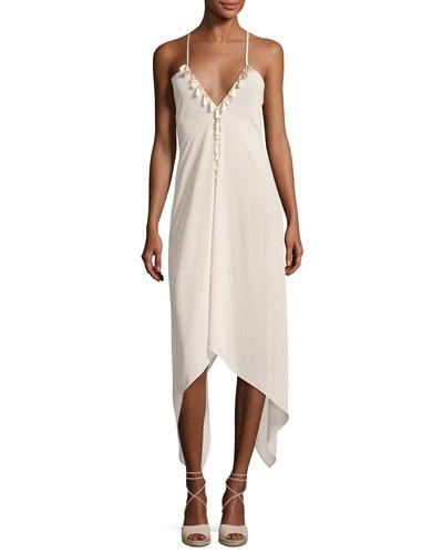 Kym Plunging Asymmetric-Hem Coverup Dress with Tassels