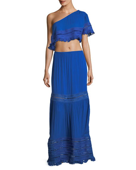 Diona Maxi Skirt with Embroidery and Fringe