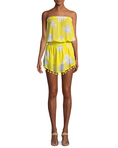 Doris Strapless Printed Dress