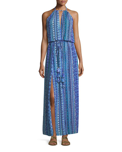 Justina Sleeveless Halter Printed Coverup Maxi Dress