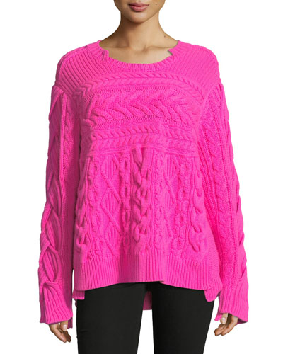 Mixed Cable-Knit Sweater