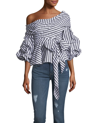The Lovers Lane One-Shoulder Striped Top