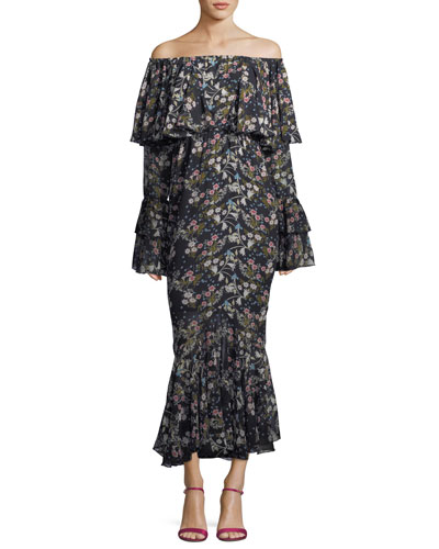 StyleKeepers Day Dreamer Off-the-Shoulder Floral-Print Maxi Dress