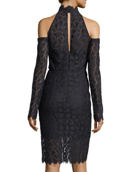 Mira Cold-Shoulder Lace Sheath Cocktail Dress