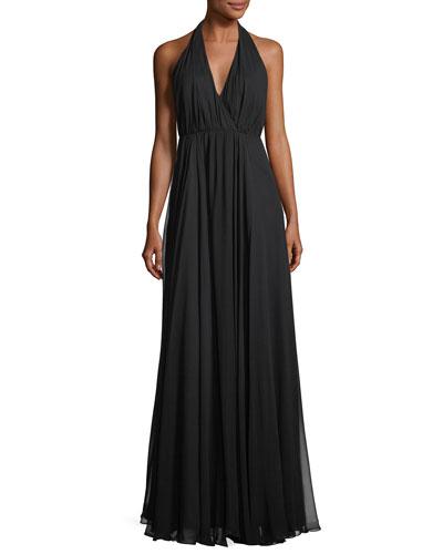 Georgiana Silk Chiffon Long A-Line Gown