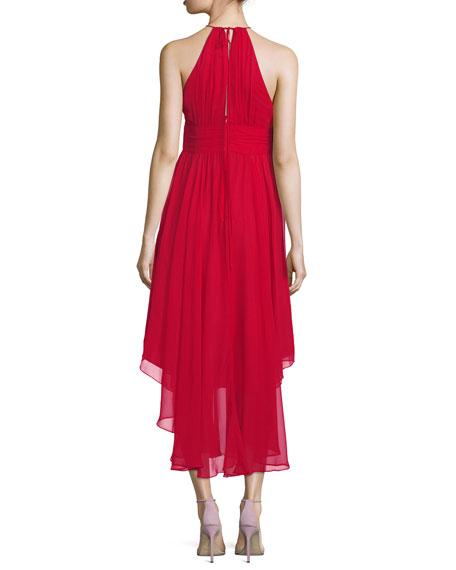 Vena Silk Chiffon Keyhole Midi Cocktail Dress