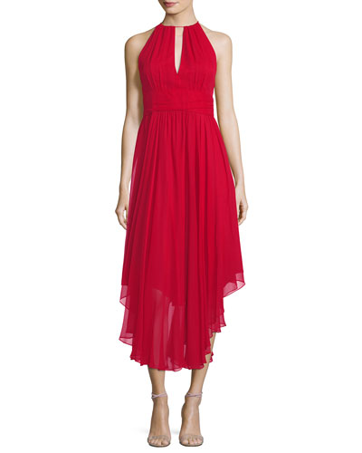 Vena Silk Chiffon Keyhole Midi Cocktail Dress