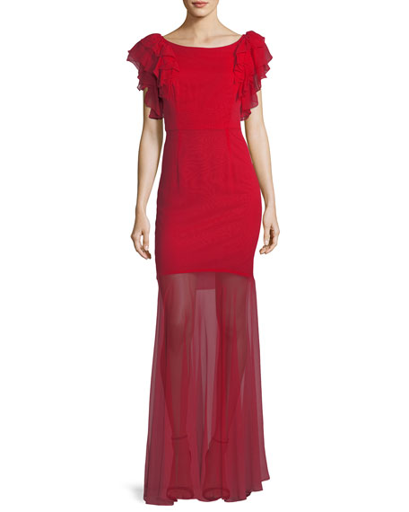 Milly Jennie Ruffle-Sleeve Sheer-Skirt Gown