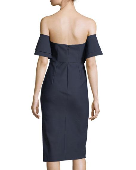 Natalie Off-the-Shoulder Tech Stretch Cocktail Dress