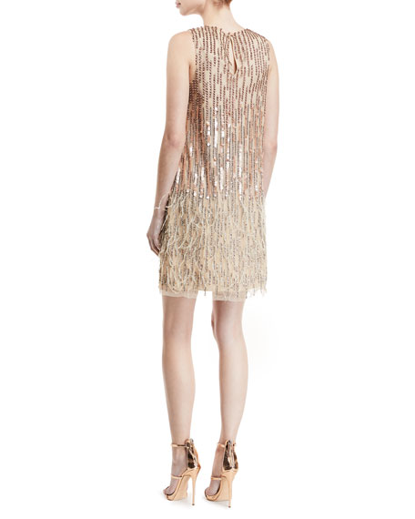 Allegra Embellished Fringe Mini Cocktail Dress