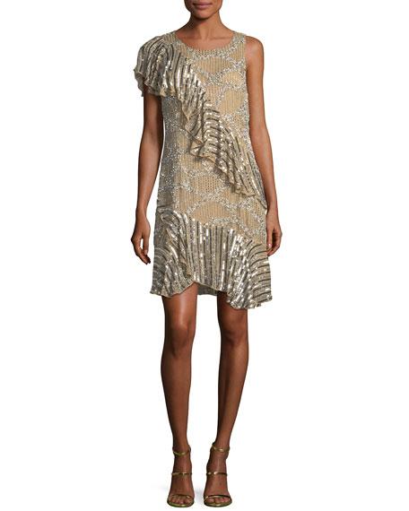Parker Black Vivica Metallic One-Shoulder Dress