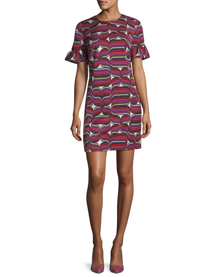Trina Turk Ribbon-Print Faille Sheath Ruffle-Sleeve Dress