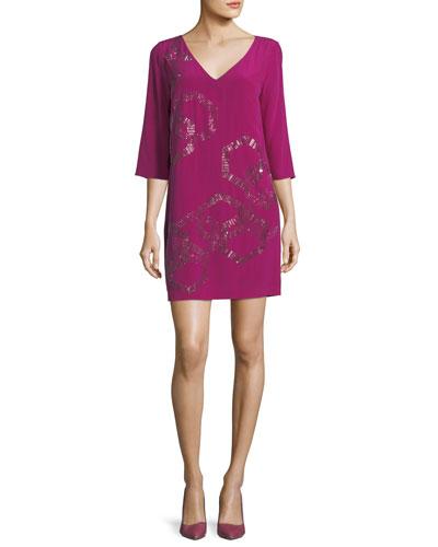 Silk V-Neck Embellished Shift Dress