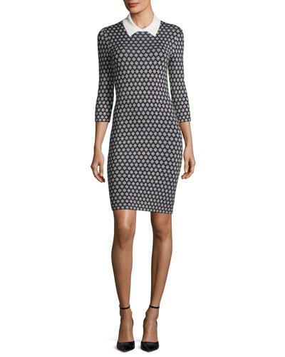Mini Diamond Sweater Dress w/ Contrast Collar