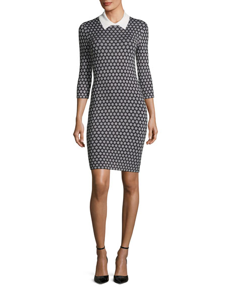 Mini Diamond Sweater Dress w/ Contrast Collar