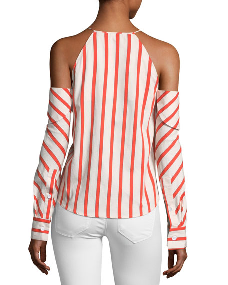 Can't Be Tamed Cold-Shoulder Striped Poplin Top