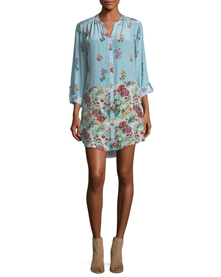 Chloe Striped Floral Button-Front Shirt, Plus Size