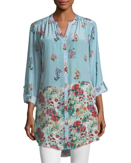 Tolani Chloe Striped Floral Button-Front Shirt, Plus Size