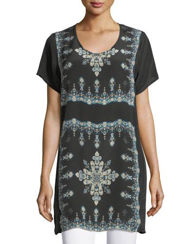 Tiniya Long Silk Tunic, Plus Size
