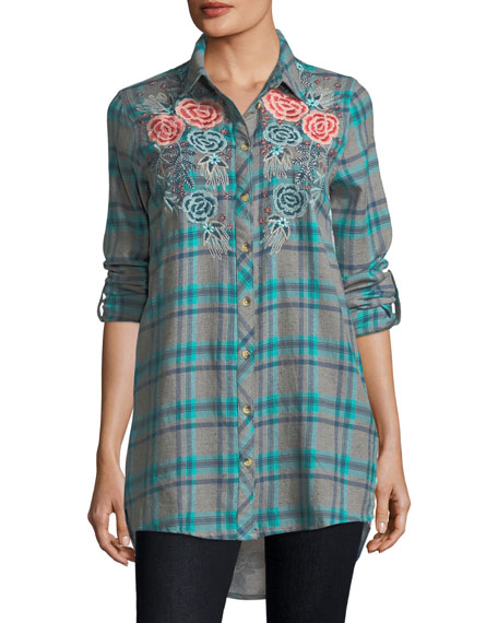Neicy Long-Sleeve Resort Plaid Button-Front Shirt, Plus Size