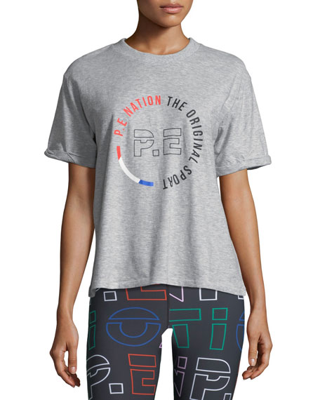 PE Nation Jump-Off Crewneck Short-Sleeve Logo-Graphic Cotton