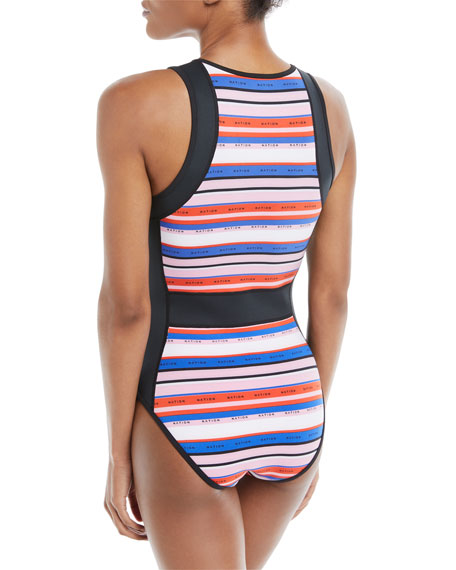 Off-the-Hook Zip-Front Striped One-Piece Swimsuit