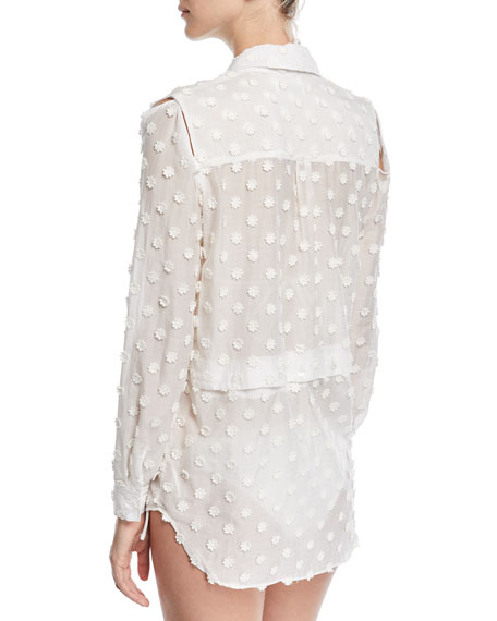 Fractured Cotton-Gauze Coverup Shirt with Floral Appliques