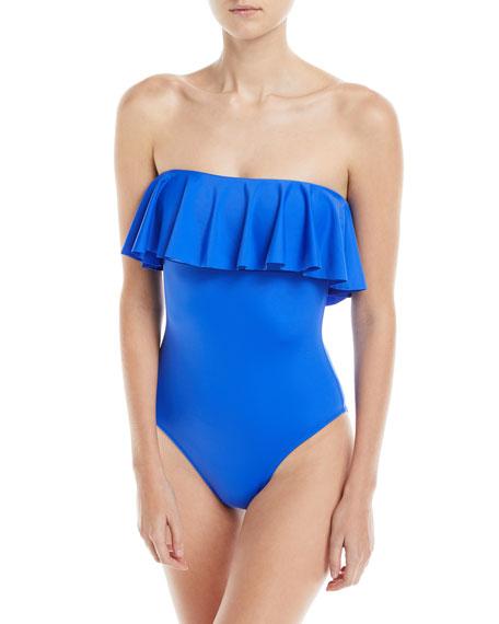 Ruffle-Top One-Piece Bandeau Swimsuit