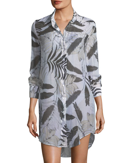 Milly Jessica Long-Sleeve Button-Front Coverup Shirt