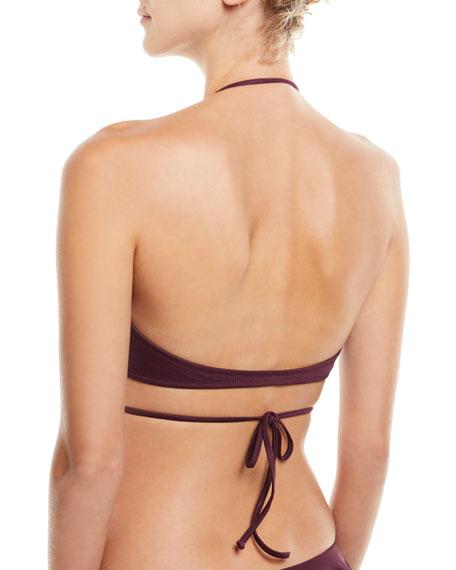 Ruffle Wrap Solid Bikini Swim Top