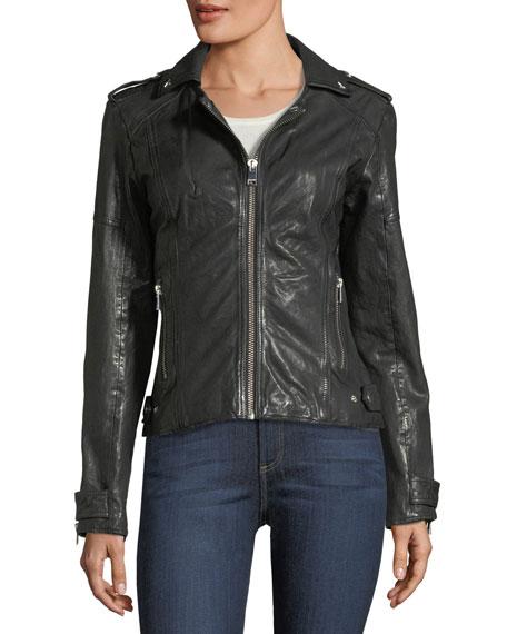 Leather Hooded Moto Jacket