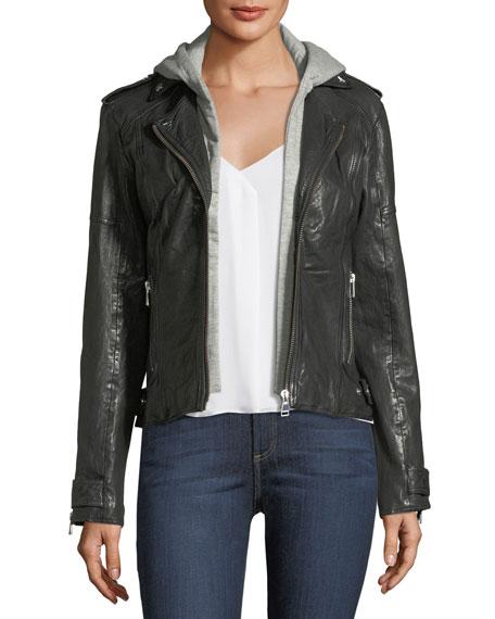 LaMarque Leather Hooded Moto Jacket