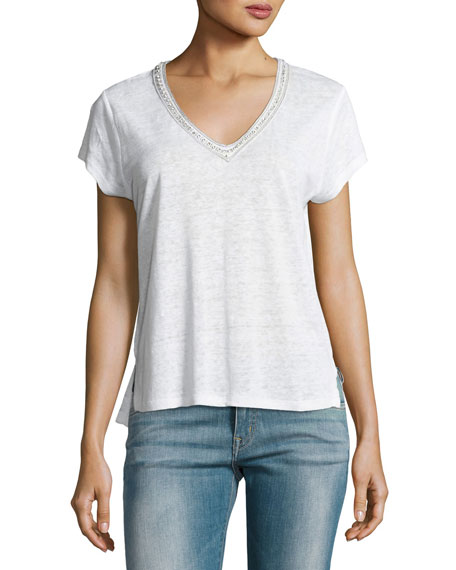 Tahlia V-Neck Linen Top with Crystal Trim