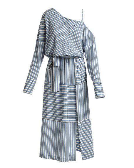 Cold-Shoulder Striped Silk Satin Long Dress