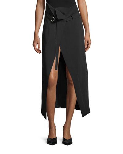 High-Waist Belted Crepe Wrap Skirt