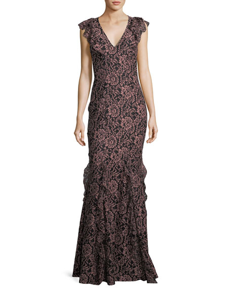 ZAC ZAC POSEN Josephine V-Neck Ruffled Mermaid Gown in Black