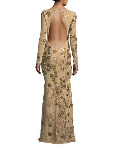 Carey Embellished Floral Sequin Long-Sleeve Gown
