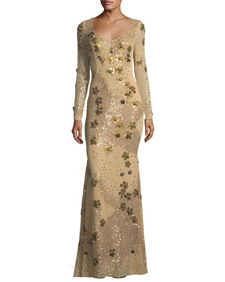 ZAC Zac Posen Carey Embellished Floral Sequin Long-Sleeve
