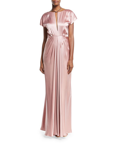Perry Satin Cowl-Back Short-Sleeve Gown