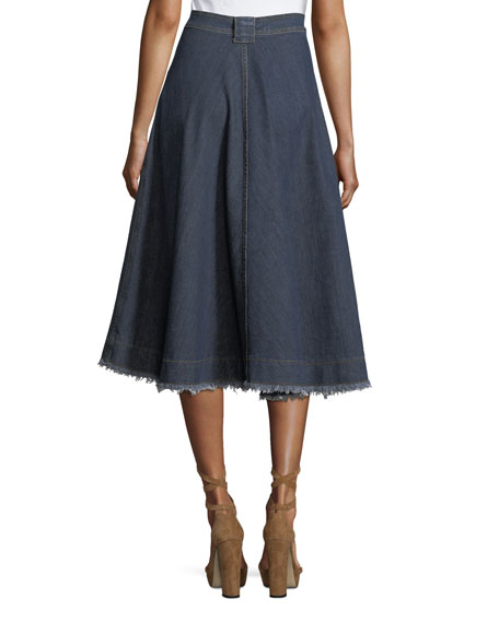 High-Waist A-Line Midi Denim Skirt