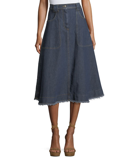 Alexa Chung High-Waist A-Line Midi Denim Skirt