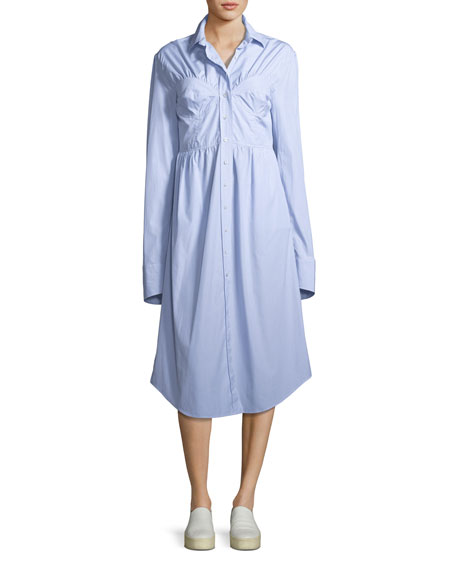 Alexa Chung Seamed Button-Down Striped Poplin Shirtdress