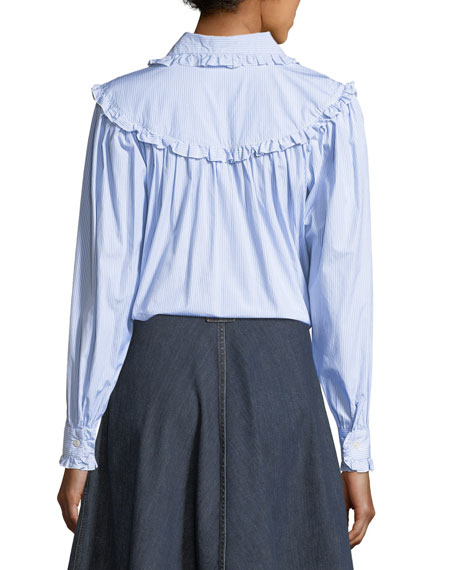 Frill-Trim Button-Front Oversized Denim Shirt