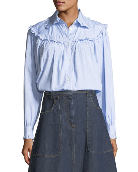 Alexa Chung Frill-Trim Button-Front Oversized Denim Shirt