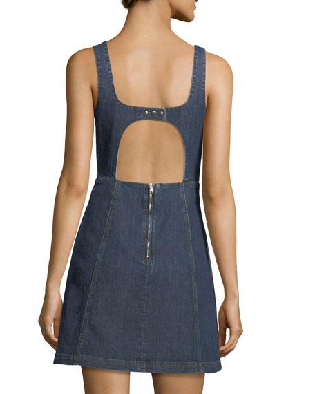 Square-Neck Sleeveless Cutout Denim Mini Dress