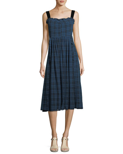 Plaid Gathered A-Line Midi Dress with Velvet Straps